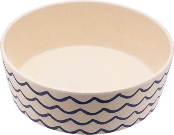 Bamboe voerbak/waterbak voor honden - duurzaam & trendy - Beco Printed Bowls in 5 Kleuren in 2 maten - Kleur: Golven, Maat: Large - 1650 ml
